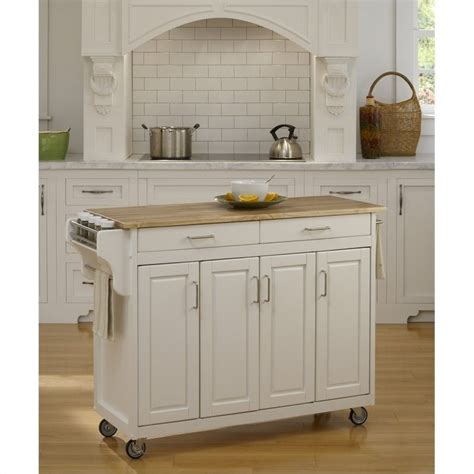 Wood Top Kitchen Cart by 49 Inch Wood Top Kitchen Cart In White 9200 1021