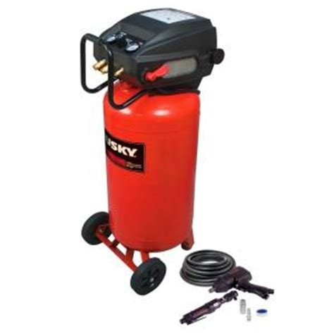 husky 26 gal portable electric air compressor with 2 air