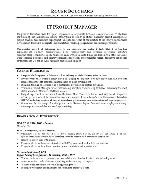 project manager resume format sle it project manager resume