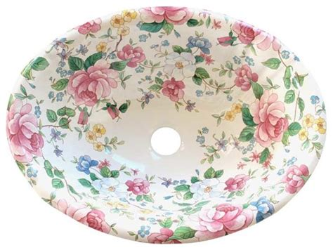 Chintz Floral Hand Painted Sink Traditional Bathroom Sinks Other Metro By