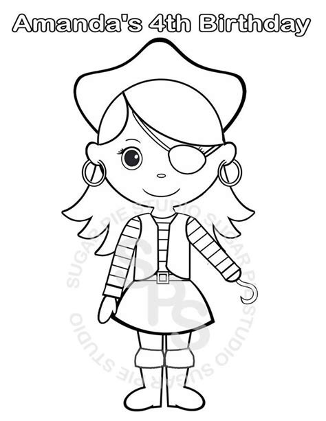 coloring pages girl pirates personalized printable pirate girl birthday party favor