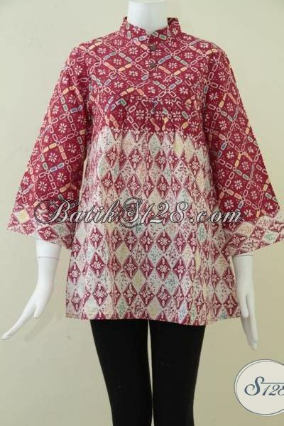 Blus Batik Lilin Abitex 003 baju batik wanita krah shanghai batik cap bahan lilin warna merah bls871c m toko batik