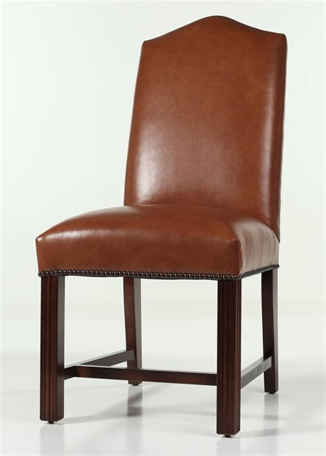 Leather Dining Room Chairs With Nailheads Leather Camel Back Chippendale Dining Chair With Nailhead Trim