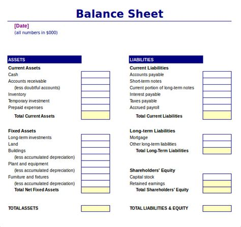 simple balance sheet template excel financial statements