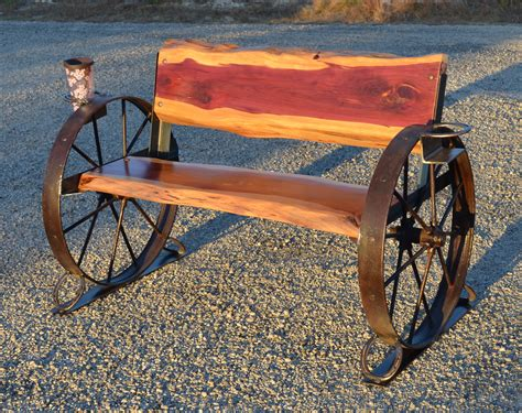 metal wagon wheel bench benches sycamore creek creations