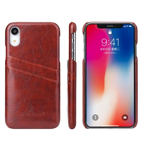 fierre shann retro wax texture pu leather for iphone xr with card slots brown