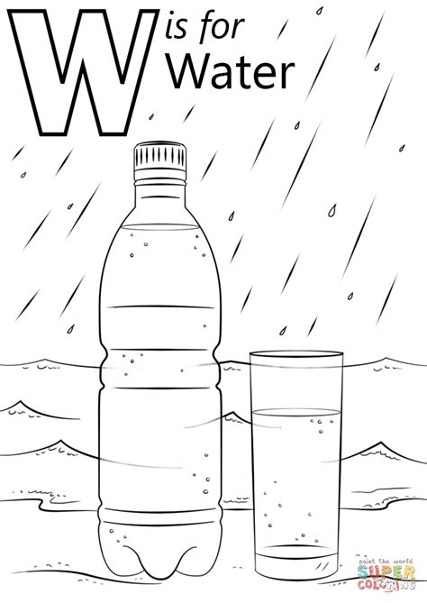 Coloring Page Water by Letter W Is For Water Coloring Page Free Printable