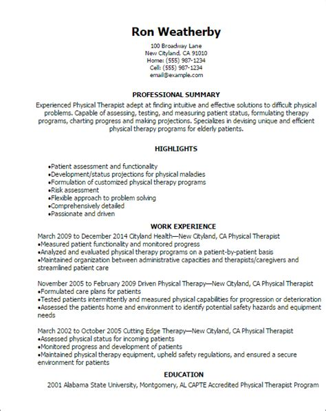 Physical Therapy Resume Template 1 physical therapist resume templates try them now