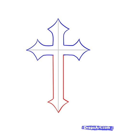 how to draw a cross how to draw a cross with wings step