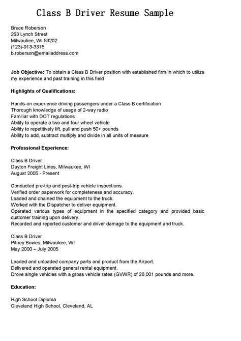 Sle Resume For Furniture Delivery Driver sle of driver resume 28 images resume of drivers sales