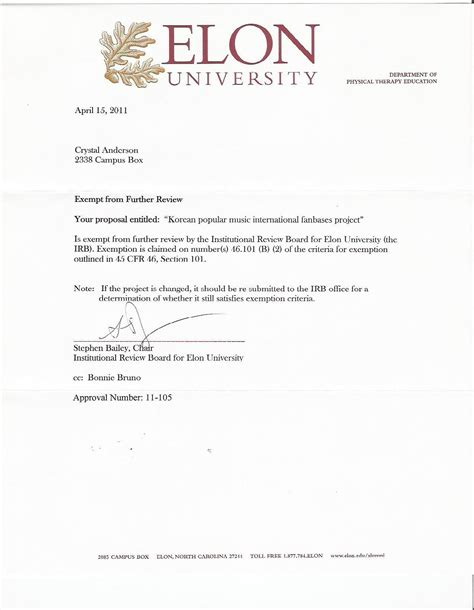 Letter For Research Approval Cover Letter And Irb Approval Submitting Social And Behavioral Research Study Withdrawal Irb