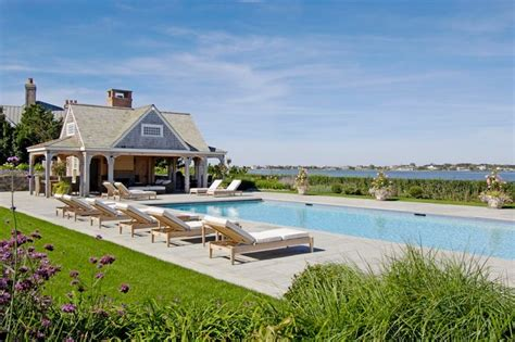 Coastal Style Area Rugs Bayfront Hamptons Pool House Beach Style Pool New