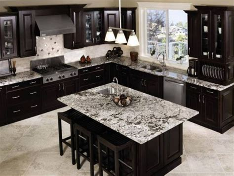Flooring And Kitchen Cabinets For Less Black Cabinets With Grey Granite With Blue Walls Would To Do Grey Wood Tile Floor