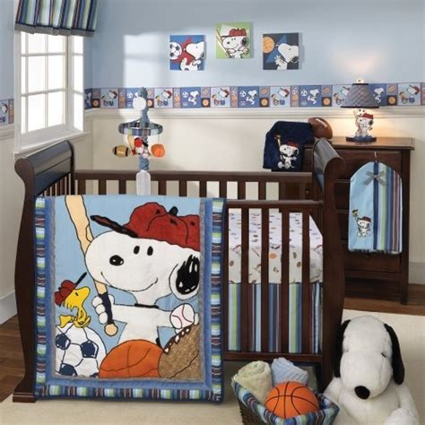 snoopy crib bedding lambs ivy team snoopy 5 piece bedding set by lambs ivy