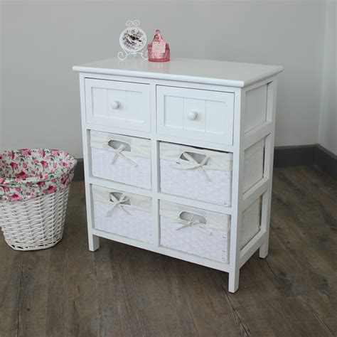 White Wicker Storage Drawers by White Wicker Storage Unit 4 Basket 2 Drawer Melody Maison 174