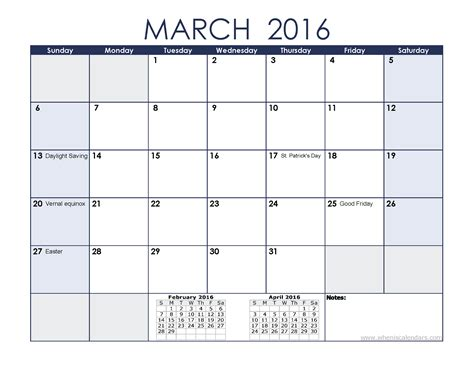 march 2016 calendar with previous and next month when is