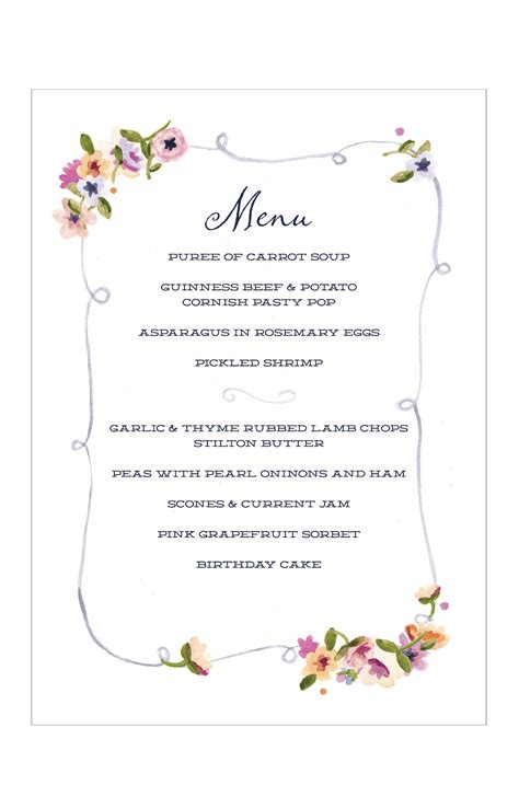 Menu Party Menu Template Birthday Menu Template
