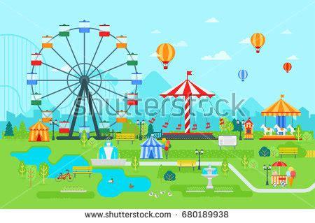 theme park vector amusement park vector flat illustration daytime stock