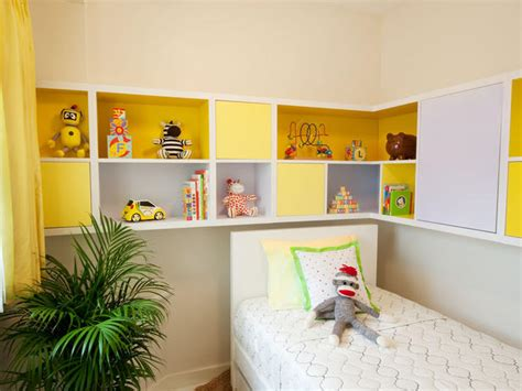 kids room shelves modern kid s bedroom with modular yellow and white storage