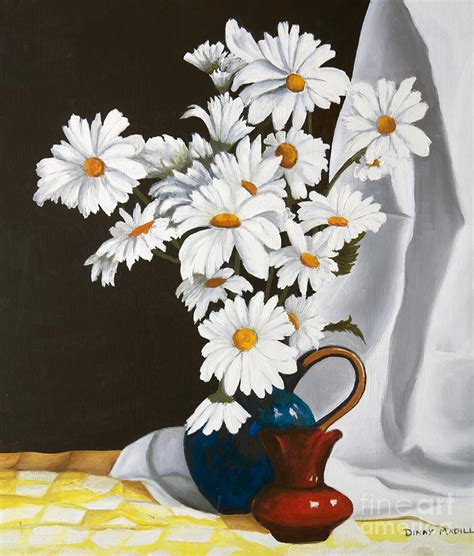 Daisies In A Vase by Daisies In A Vase Painting By Dinny Madill