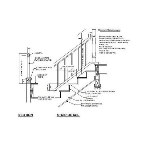 Handrail Details Dwg stair and handrail cad detail cadblocksfree cad blocks free