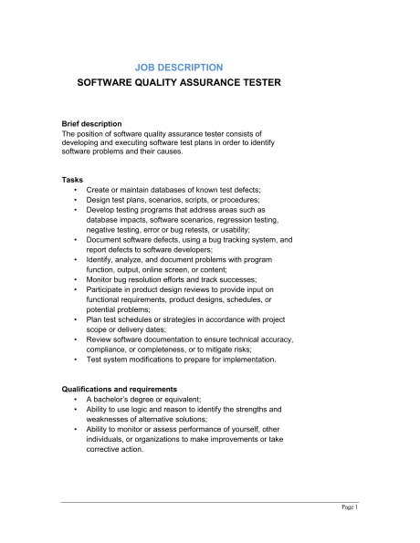 Software Engineering Manager Description by Software Quality Assurance Tester Description Template Sle Form Biztree
