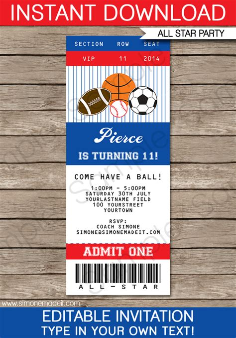 All Star Sports Ticket Invitations Sports Invitations Blank Ticket Invitation Template