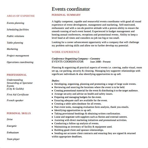 Event Planner Resume by 8 Sle Event Planner Resumes Sle Templates