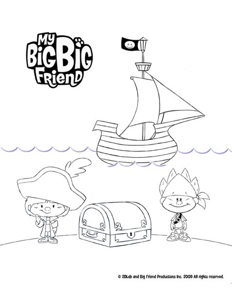 my big big friend pirates colouring page treehouse