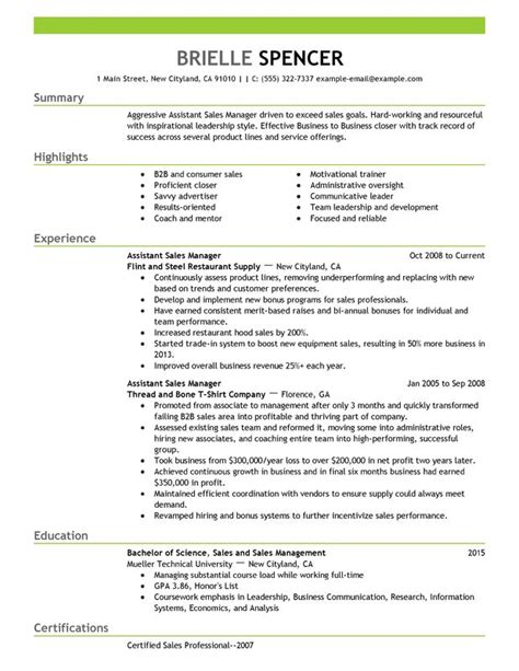 management resume sles assistant managers resume exles created by pros