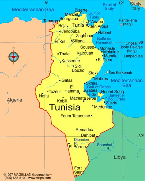 where is tunisia located on a map map of tunisia