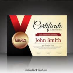 certification templates free certificate template with a medal vector free