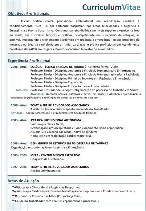 modelo curriculo tecnico de enfermagem modelo de curriculum vitae para tecnico em enfermagem