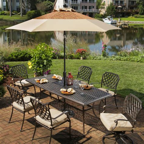 Agio Patio Dining Set Agio Heritage 6 Person Cast Aluminum Patio Dining Set Antique Bronze Ultimate Patio