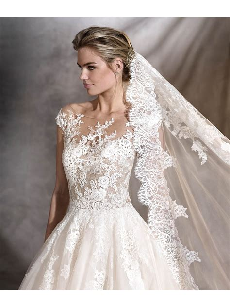 a line elegant illusion neckline lace bridal gowns wedding