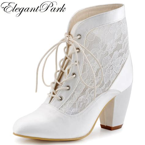 Wedding Shoes Booties by Comfort Boots Chunky Mid Heels Lace Up Booties