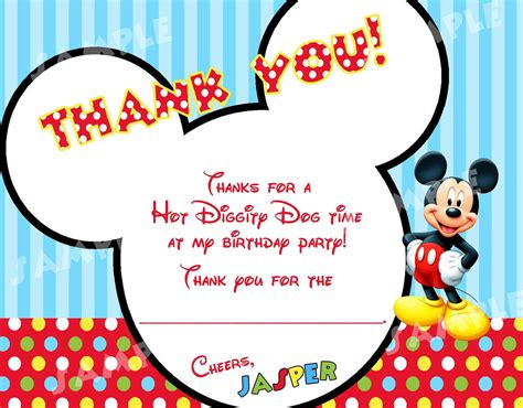 Mickey Mouse Thank You Card Template by Printable Modern Mickey Mouse Thank You Cards By Modpoddesigns