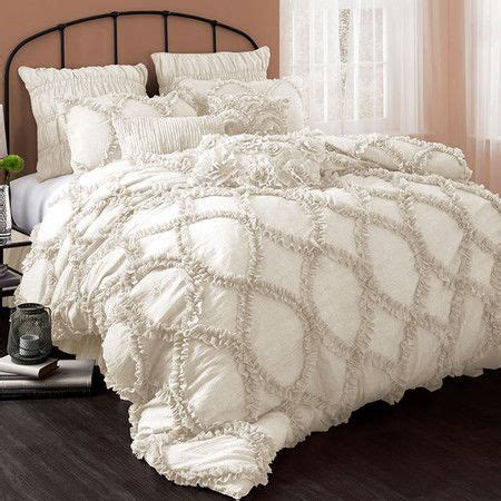 ruffled comforter set ivory hued comforter set with a ruffled design product 1