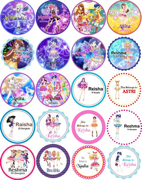 Sticker Label Foto Nama Seri Melody jual sticker label nama lingkaran seri aikatsu aleka