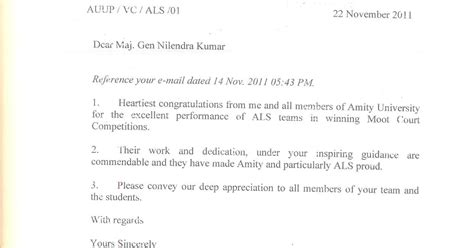 appreciation letter to vice chancellor amity school noida appreciation letter by maj k