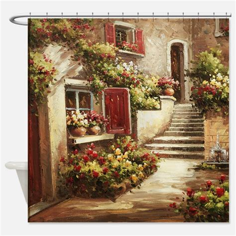 Italian Themed Kitchen Curtains Wall Designs Tuscan Wall Tuscan Courtyard Shower Curtain Where To Buy Tuscan Wall