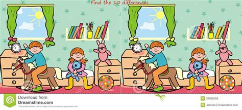 with a difference children and find 10 differences stock vector image