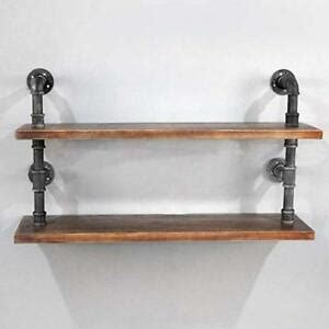 industrial wall shelf wrought iron pipe  wood plank