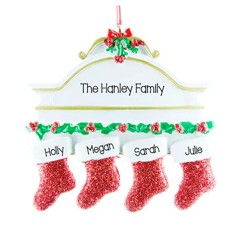 fireplace family of 4 personalised hanging christmas