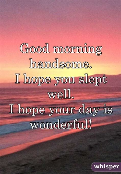 Good Morning Memes For Him - good morning handsome i hope you slept well i hope your day is quotes pinterest