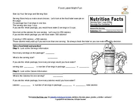 carbohydrates webquest answers printable food labels serving size math computation