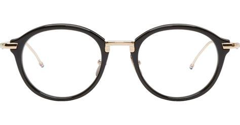 thom browne black and gold optical glasses in black