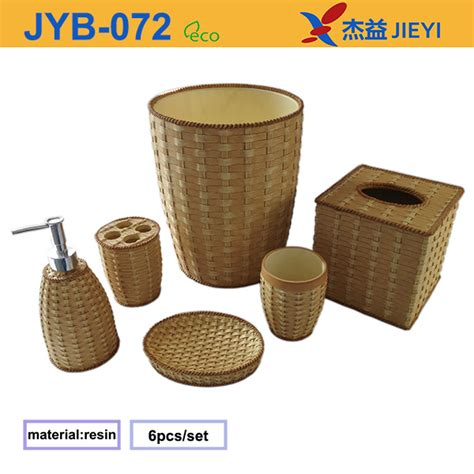 rattan bathroom accessories 2015 new design hotel bath set rattan toilet and bathroom