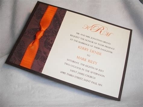 Einladungskarten Hochzeit Orange by Chocolate Brown And Burnt Orange 5 X 7 Wedding Invitation