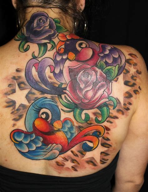 rose and sparrow tattoo flower color leopard print sparrow